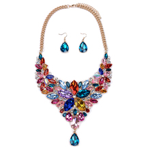 Jewelry Sets Women Crystal Necklace Earring Choker ZA Flower Black Jewellery Rhinestone Wedding African Gem Fashion Accesory