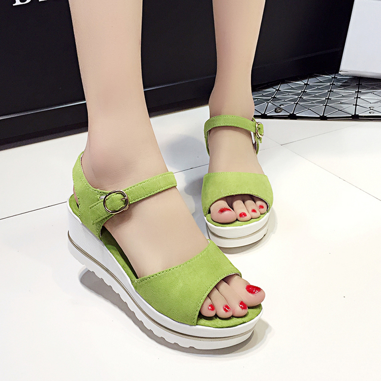 2016 Women Platform Wedges 6cm High Heel Open Toe Sandals Slippers Summer Shoes Woman Green Suede Style Sandalias Zapatos Mujer<br><br>Aliexpress