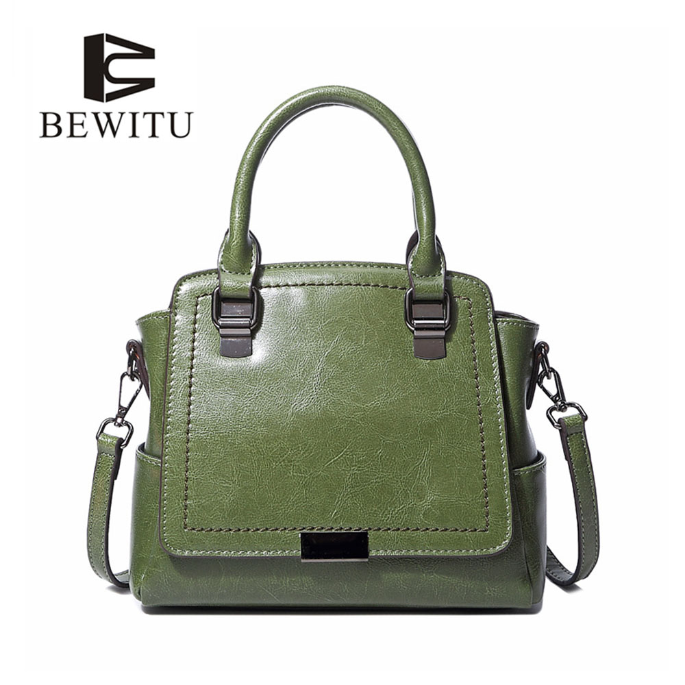 BEWITU Portable Cow Leather Handbag Oil Wax Leather Designer Handbags Women Designer Handbags Female Shoulder Bag<br>