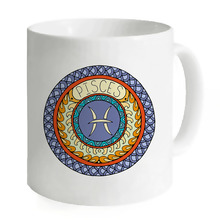 Pisces Circle Art Zodiac Pisces Sagittarius Scorpio Aries Gemini Cancer Porcelain 11oz Mug Hot Coffee Milk Cup