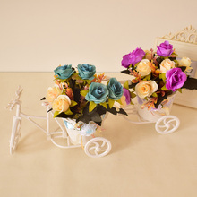 New small bicycle artificial flowers set rose daisy set home table garden decoration Photo props mini gift white blue pink color