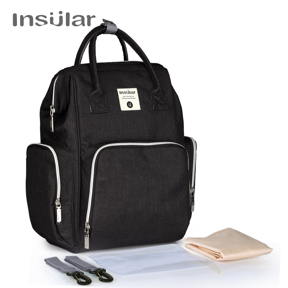 Insular Baby Diaper Changing Backpack Mother Travel Bag Baby Nappies Handbag Thermal Bag For Baby Strollers<br>