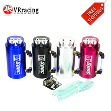 VR RACING - FREE SHIPPING JDM Universal 10mm D1 Engine Round Oil Catch Tank Can BLACK,SILVER,RED,BLUE VR-TK82
