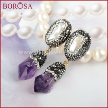 BOROSA Exclusive Freshwater Pearl&Purple Crystal With Black Gun CZ paved Dangle earrings vintage drop earrings JAB002