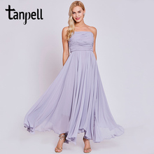 Tanpell strapless evening dress lavender sleeveless a line ankle length dresses cheap women ruched long prom formal evening gown(China)
