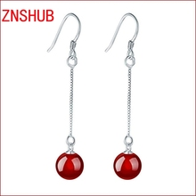 Shiny 925 Sterling Silver Earrings Natural Red Black Crystal Stone Long Tassel Earrings Wholesale Jewelry Manufacturers
