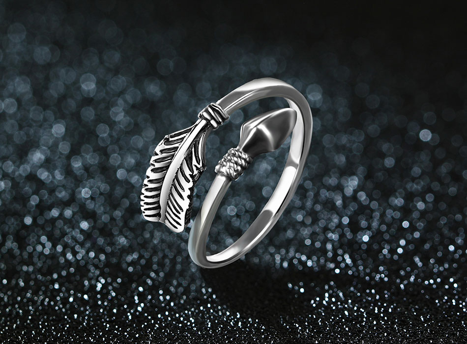 Stunning Resizable Sterling Silver Cupid Arrow Ring