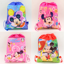 Mickey Mouse Birthday Party Kids Favors Minnie Drawstring Gifts Bags Non-Woven Fabric Baby Shower Decoration Supplies 1pcs\lot