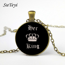 SUTEYI Charming Black Round glass cabochon Couple Necklaces Her King & His Queen Crown Tag Pendant Necklace Dropshipping(China)