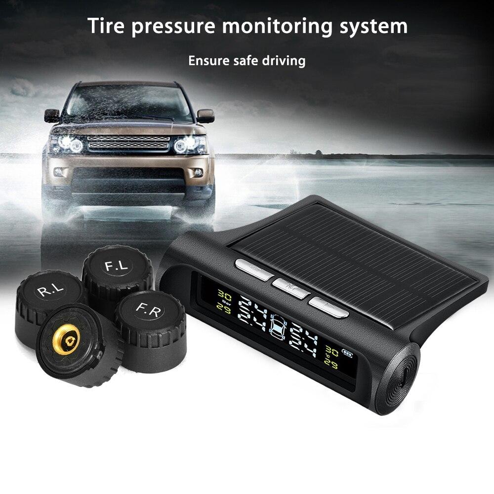 SUV KFZ Solar Energie und USB Wiederaufladbares Drahtloses-Reifendruckkontrollsystem mit LCD-Display und 4 Reifendrucksensor Reifendruck-Autoalarmsyste f/ür Auto TPMS ReifendruckKontrollsystem