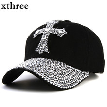 xthree New black Rhinestone baseball cap Fashion Hip hop Cap Men Women's Baseball Caps Super Quality Unisex Hat Free Shipping(China)