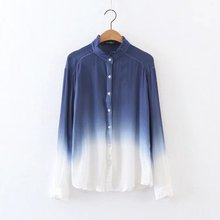 2017 Fashion Women elegant Tie dye printing cotton Shirts Long sleeve Blouses Casual Loose Tops chemise femme blusas S1832
