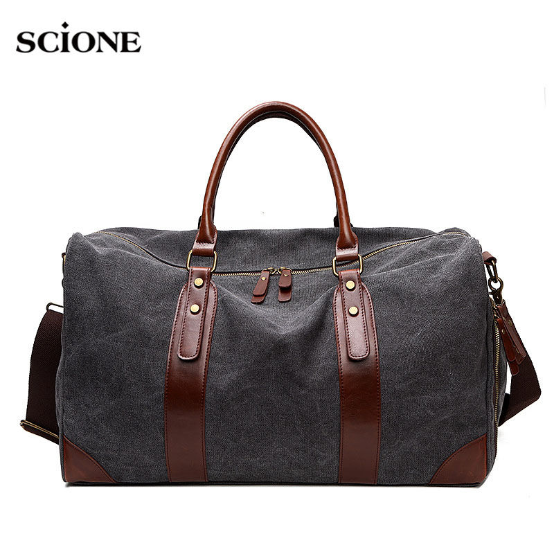 Women Men Gym Bag Luggage Travel Handbag Canvas Leather Ladies Casual Hanhbags Crossbody Shoulder Bags Weekend Briefcase XA245WA<br>