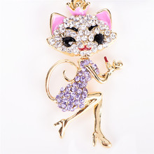 Crown Lipstick Cat Lady Crystal HandBag Pendant Keyrings Keychains For Car key Chains holder for women(China)