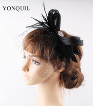 Black Hair bands sinamay feather fascinator wedding hat bridal veils church occasion derby races cocktail headwear with brooch(China)