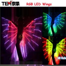 New arrived RGB LED wings 2016 Fashion Costume LED Bdancing Wings DJ Wing Girls Dance Costumes Light Up Wings