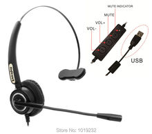 VoiceJoy Call center headset with microphone USB plug headphone for computer and PC Volume control and Mute Switch(China)