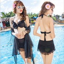 2017 New Swimsuit Lady in the Swimwear Three piece suite Conservative hot spring Swimming suit Sandy beach Bathing Suit(China)