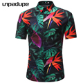2018 Short Sleeve Mens Hawaiian Shirt Male Casual Camisa Masculina Flower Print Beach Summer Shirts Brand Clothing Men Plue Size 1