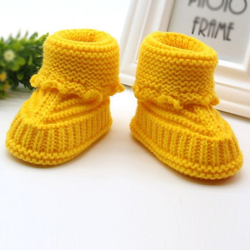 Kleinkinder Neugeborenes Baby Strickerei aus Wolle Häkel Schuhe Schnalle