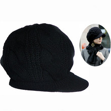 1 pc New  New Women Winter Knitted Hat Female Crochet Wool Warm hat Fashion Winter Peaked Cap