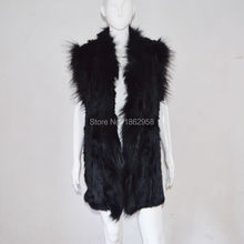 SJ362-02 Fashionable Australia Designed Rabbit Knitting Vest with Raccoon Fur Collars Plus Sizes