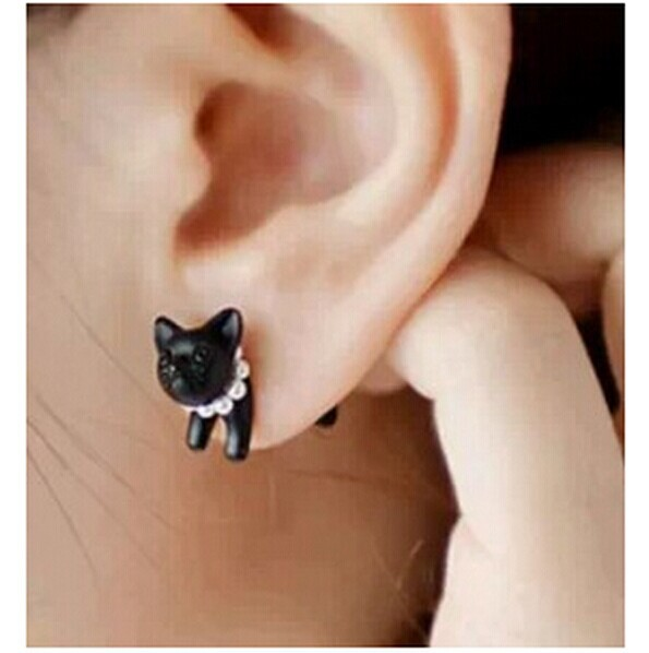 1 Piece !! Three-dimensional Animal Leopard Cat Pearl Stud Earrings 4ED124(China (Mainland))
