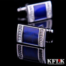 KFLK jewelry NEW shirt cufflinks for mens gift Brand cuff buttons Crystal cuff links High Quality Blue abotoaduras Jewelry