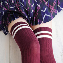 HQ Autumn Winter New 7 Colors Fashion Women Stripe Over The Knee Socks Lovely Girls Princess Cotton Thigh High Long Socks ZHH873