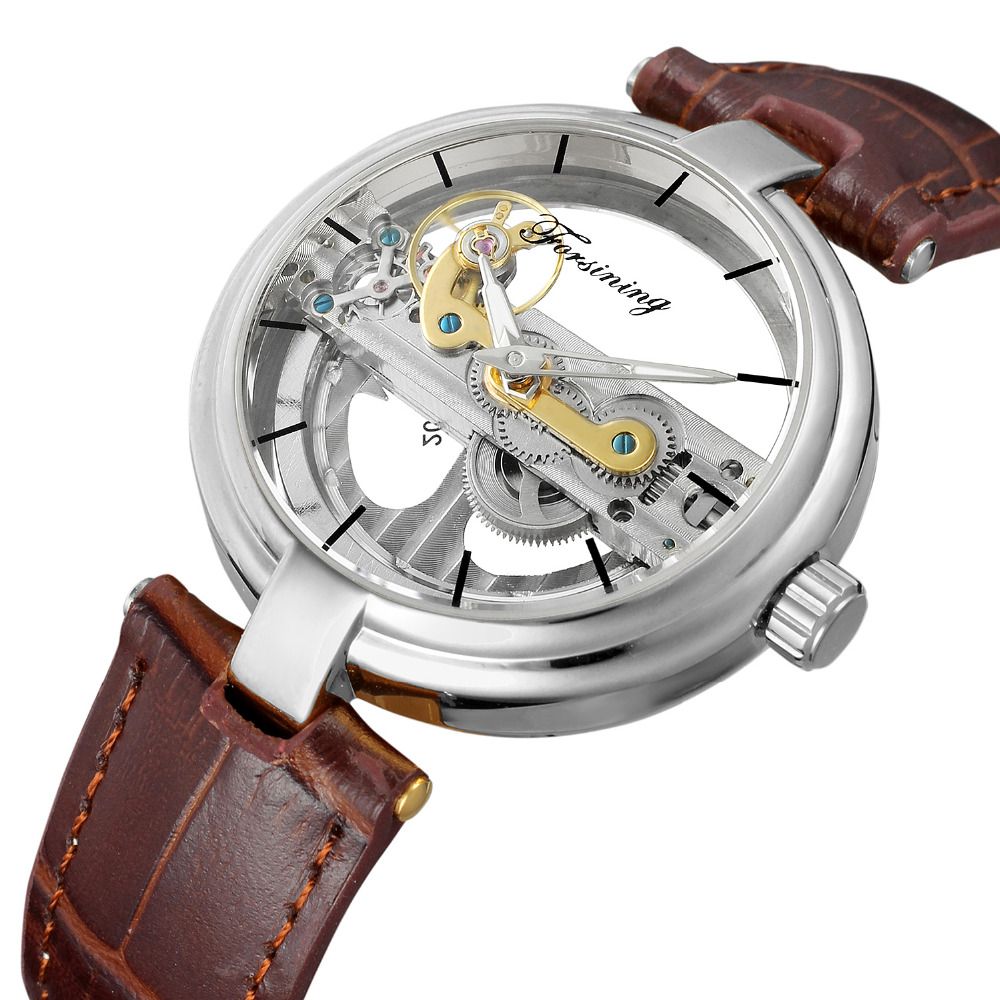 FORSINING Retro Mens Unique Design Hollow Out Style Skeleton Watch Automatic Movement Mechanical Wrist Watch Cool Gift<br>