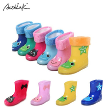 ActhInK New Design Kids Cartoon Rainboots Baby Girls Antiskid Wellies with Cotton Velvet Boys Autumn Winter Warm Rain Boots,S009