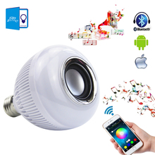 Smart RGBW Wireless Bluetooth Speaker Bulb Music Player Audio Dimmable 12W E27 LED Bulb Light Lamp with 24 Keys Remote Control