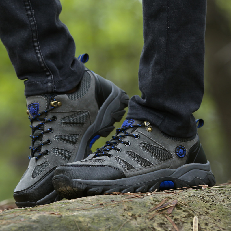2017 Man Hiking Shoes For Outdoor Walking Climbing Sneakers Cushioning Resistant Breathable Leather Trekking Zapatillas Hombre<br>
