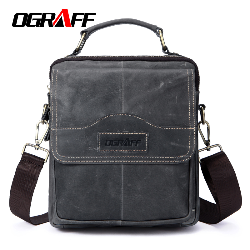 OGRAFF Genuine Leather Bag Tablets designer Men Bags Shoulder Crossbody Bags Messenger Vintage Casual Handbags Bags For Male <br>