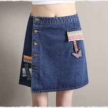 2017 Qiyan Top Brand Summer Women Girl Jean Skirt Floral A-line Jeans High Quality Embroidery Skirts Jeans