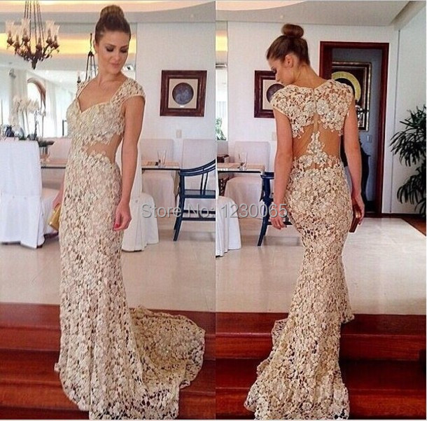 robe de soiree cap sleeve beading long prom sexy see through lace evening gown vestido de festa 2018 mother of the bride dresses