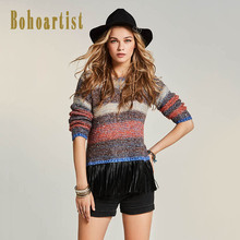 Bohoartist 2017 Autumn Slim Sweater Stripe Patchwork Color Block Tassel Apparel O Neck Orange Pullover Women Knitwear Sweaters(China)