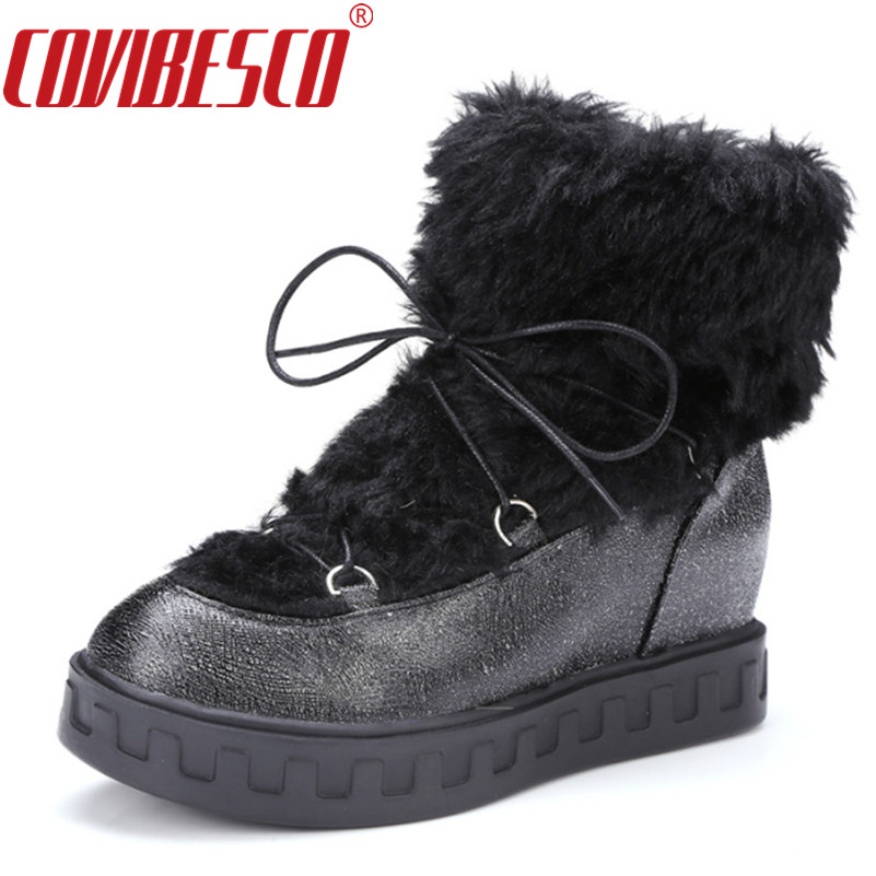 COVIBESCO Women Boots Autumn Winter Fashion Lace-Up Ankle Snow Boots Warm Soft PU Leather Outdoor Casual Wedges Heels Shoes <br>