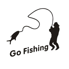 Outdoor Sports Fishing GO FISHING Stickers Car Accessories Car Stickers Decals Black Silver CT-390(China)