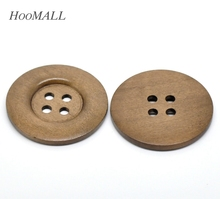 Hoomall Decorative Buttons 10PCs Coffee 4 Holds Big Wood Sewing Buttons for Sweater Overcoat Clothing 5cm Dia Sewing Accessories(China)