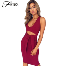 Sexy Low Cut Halter Lace Up Bow Know Summer Bodycon Dress Women Sleeveless Prom Party Night Club Midi Dress Robe