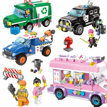 ENLIGHTEN City Wrecker Police Sanitation Ice Cream Car Truck Building Blocks Sets Bricks Model Kids Toys Compatible With Legoed(China)