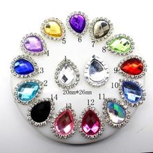 10Pcs/Lot 20*26MM Drop rhinestones Buttons Flat Back Acrylic Craft Making  Accessories Wedding Invitation Card Decoration