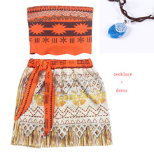 Baby girl clothes Princess dress Moana Cosplay Costume Children Vaiana Girls Party Wedding dresses Necklace Costumes