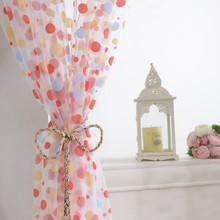 Door Room Window Polka Dots Drape Panel Sheer Scarf Valance Tulle Voile Curtains Circle Designed Curtain