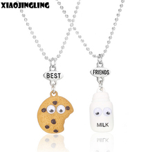 XIAOJINGLING 2Pcs/Set/Pack Cute Milk Cookie Pendant Necklaces Resin Bead Chain Length Necklace Best Friends Gifts