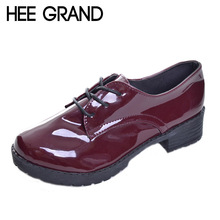 HEE GRAND Women Platform Pumps 2017 Spring High Quality Oxfords Solid Plain PU Leather Creepers Casual Shoes Woman XWD848(China)