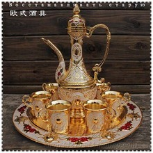 European decor wine gift ornaments retro classic combination metal wine wine pot and cup tray Jewelry Set