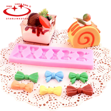1PCS 3D 3 Kinds Of Bow Tie Shape Silicone Cake Soap Mold Mould silicone baking forms cake decorating tools(China)