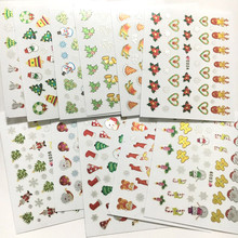 Crazy cute christmas 3D seal 3d nail art stickers last deal 33 pieces each pack green tree and red snow man